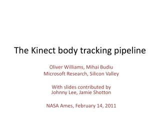 The Kinect body tracking pipeline