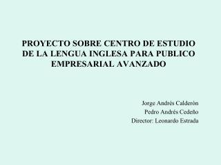 PROYECTO SOBRE CENTRO DE ESTUDIO DE LA LENGUA INGLESA PARA PUBLICO EMPRESARIAL AVANZADO