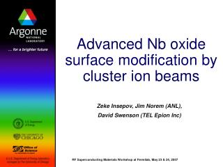 Advanced Nb oxide surface modification by cluster ion beams