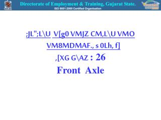 ;JL;LU  V[g0 VMJZ CM,LU VMO VM8MDMAF., s 0Lh, f] ,[XG GAZ : 26 Front  Axle