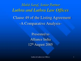 Mohit Saraf, Senior Partner Luthra and Luthra Law Offices