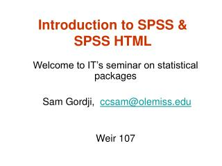 Introduction to SPSS  SPSS HTML