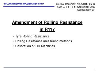 Amendment of Rolling Resistance in R117