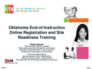 Oklahoma End-of-Instruction  Online Registration and Site Readiness Training