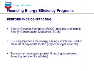 Financing Energy Efficiency Programs