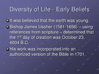 Diversity of Life - Early Beliefs