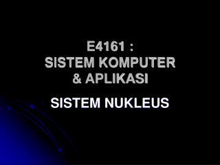 E4161 : SISTEM KOMPUTER   APLIKASI