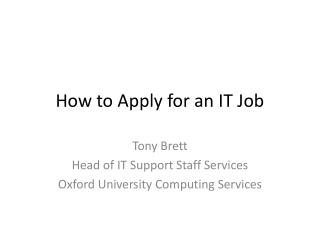How to Apply for an IT Job