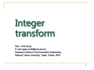 Integer transform