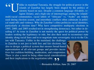 Identity Politics in Zanzibar and Challenges to Democratic Consolidation in Tanzania