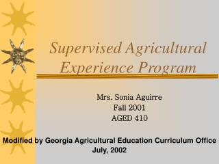 Supervised Agricultural Experience Program