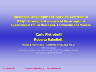 Carlo Pietrobelli Roberta Rabellotti Working Paper Cepal -Desarrollo Productivo No.13 eclac