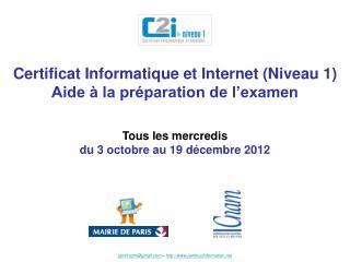 Certificat Informatique et Internet Niveau 1 Aide   la pr paration de l examen