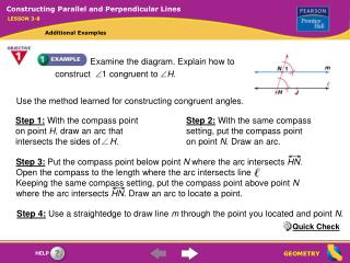 Use the method learned for constructing congruent angles.