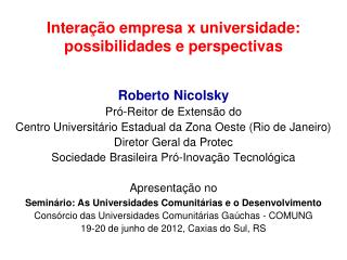 Intera  o empresa x universidade: possibilidades e perspectivas