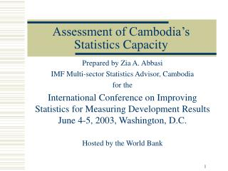 Assessment of Cambodia s Statistics Capacity