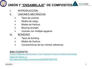 INTRODUCCI N UNIONES MEC NICAS Tipos de uniones Modos de carga Modos de fractura Bearing strength Uniones con m ltiple a