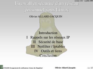 Firewall et s curit  dun r seau personnel sous Linux