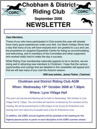 Chobham District Riding Club NEWSLETTER