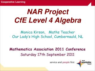 NAR Project CfE Level 4 Algebra