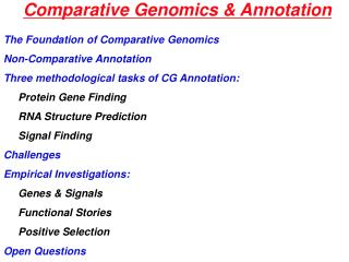 Comparative Genomics  Annotation
