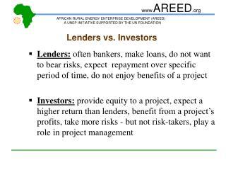 Lenders vs. Investors