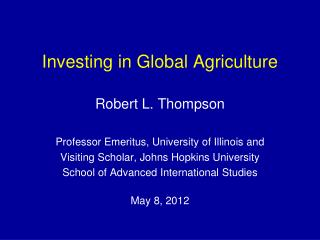 Investing in Global Agriculture
