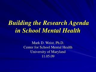Building the Research Agenda in School Mental Health