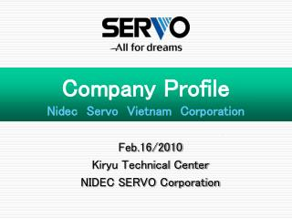 Company Profile Nidec Servo Vietnam Corporation