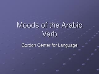 Moods of the Arabic Verb