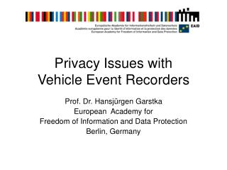 Privacy Issues with Vehicle Event Recorders