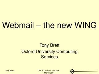 Webmail   the new WING