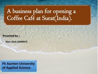 Financing plan of Coffee Shop