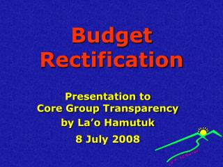 Budget Rectification