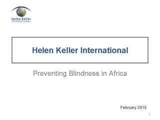 Helen Keller International: Preventing Blindness in Africa
