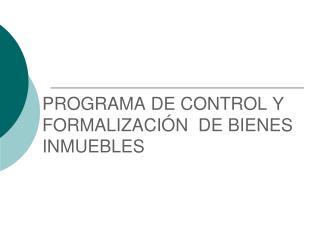PROGRAMA DE CONTROL Y  FORMALIZACI N  DE BIENES INMUEBLES