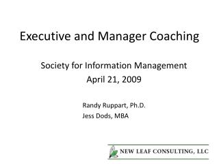 Executive and Manager Coaching