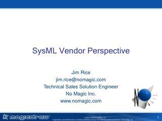 SysML Vendor Perspective