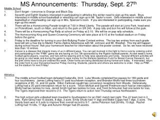 MS Announcements:  Thursday, Sept. 27th