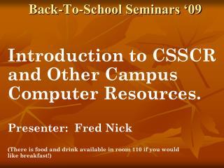Back-To-School Seminars  09