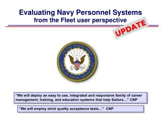 Evaluating Navy Personnel Systems from the Fleet user perspective