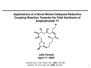 Applications of a Novel Nickel-Catalyzed Reductive Coupling Reaction Towards the Total Synthesis of  Amphidinolide T1