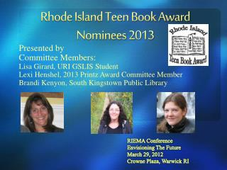 Rhode Island Teen Book Award Nominees 2013