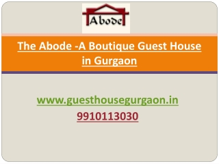 Service apartments in gurgaon by The Abode