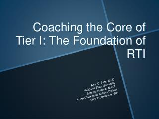 Coaching the Core of Tier I: The Foundation of RTI