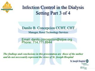 Infection Control in the Dialysis  Setting Part 3 of 4