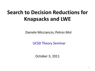Search to Decision Reductions for Knapsacks and LWE