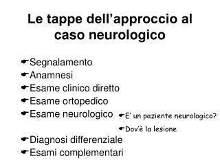 Le tappe dell approccio al caso neurologico