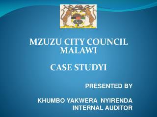 MZUZU CITY COUNCIL MALAWI   CASE STUDYI