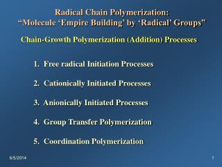 Radical Chain Polymerization:  Molecule  Empire Building  by  Radical  Groups